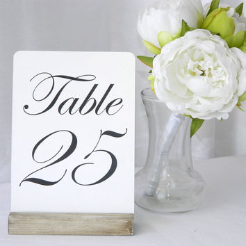 White Distressed Rustic Wood Table Card Holders 5""