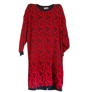 80s Sweater Dress Plus Size Dress Extra Long Sweater Dress Red and Black Dress Plus Size Clothing Plus Size Clothes Funky Clothing Clothes