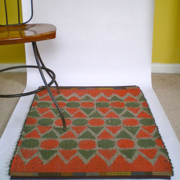 Rag Rug Circus Print in Green and Red by HomeTerrain on Etsy