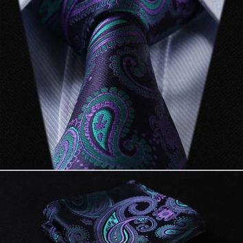 "TF4001G8 Navy Blue Green Paisley Floral 3.4"" 100%Silk Wedding Jacquard Woven Men Tie Necktie Pocket Square Handkerchief Set Suit"