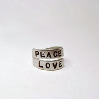 Personalized Ring, Peace Love Hand Stamped Custom Aluminum Jewelry