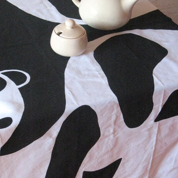 Swedish Tablecloth Panda Nature Black White Table runner