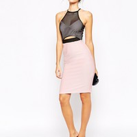ASOS PETITE Bodycon Dress With Mesh Top And Cutout Detail