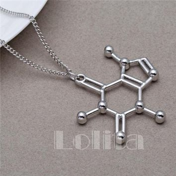 Caffeine Molecular Structure - Metal Chemical Necklaces