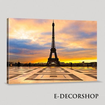 France Paris Eiffel Tower and Sunset Art Canvas Printing Framed Ready Hang Wall | Eiffel Tower Canvas Printing