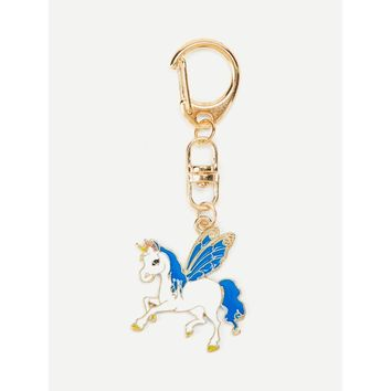 Unicorn With Wings Design Keychain
