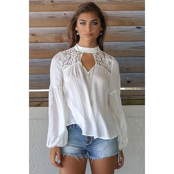High Neck Cut Out Lace Patchwork Long Sleeves Blouse