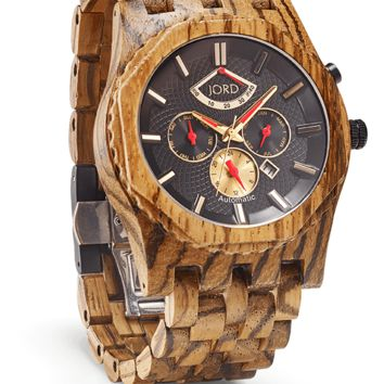 Sawyer - Zebrawood & Obsidian - Automatic Wood Watch by JORD