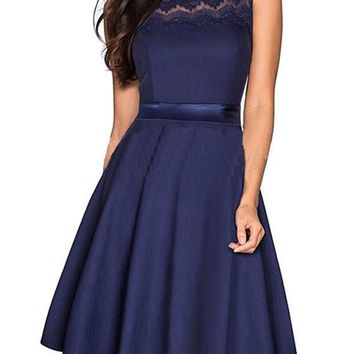 Dark Blue Patchwork Lace Pleated Bodycon Elegant Party Midi Dress