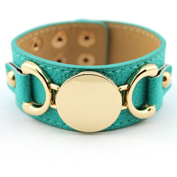 Blank Monogram Leather Cuff Bracelet for Women
