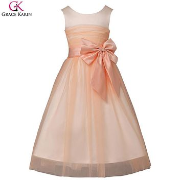 Cheap Flower Girl Dresses For Weddings Party Pageant Dress Girls Evening Gown Kids Formal Special Occasion Dresses With Tulle