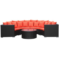 Roundano Outdoor Sofa, Orange Cushions
