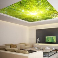 "Ceiling LAMINATED STICKER MURAL leaves trees spring forest airly decole poster 93""x93"""