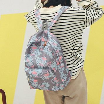 University College Backpack Moon Wood Fashion Animal Flamingo Printing  Flowers Zipper High  School Students  For Girls Laptop BagAT_63_4