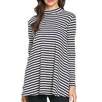 Swing Me Around Stripe Turtleneck Top-Navy
