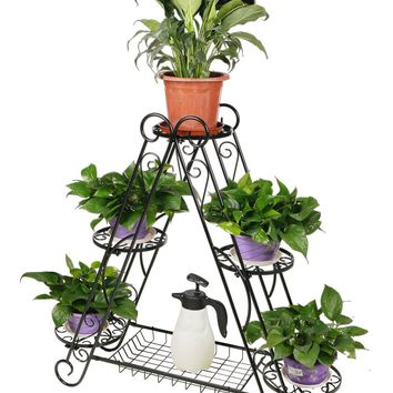 HLC 5 Pots Classic Plant Flower Stand Moder Triangle Flower stand  Suitable for Indoor and Outdoor