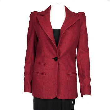 Smythe Red Wool Herringbone Blazer Jacket Red Black US 2