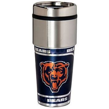 Chicago Bears Travel Tumbler Coffee Mug NFL Stainless Steel Cup 16 oz