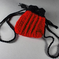 Crochet Drawstring Pouch Handmade Red and Black