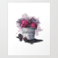 Blackberry Ice Cream,Watercolor illustration  Art Print by Koma Art