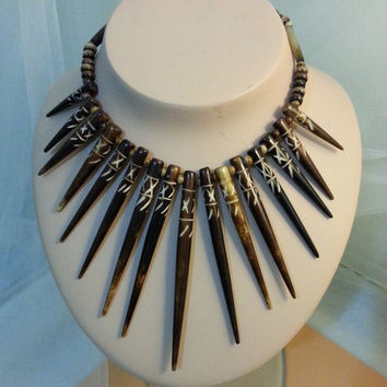 Vintage Etched Porcupine Quill beaded Necklace