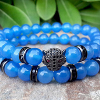 18k Gold Rhodium Plated, Leopard Head Bracelet Set, Sea Blue Agate, Mens Womans Protective Strength Bracelet
