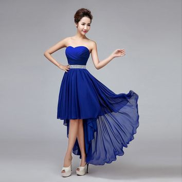 Sexy Cocktail Dresses New Fashion Women's Chiffon Strapless Lace-up Beading Evening Gowns Plus Size Bride Formal Prom Dress