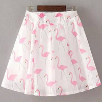 Swan Print Pleated Mini Skirt