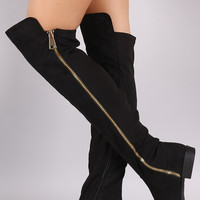 Bamboo Side Zipper Trim Riding Over The Knee Boots