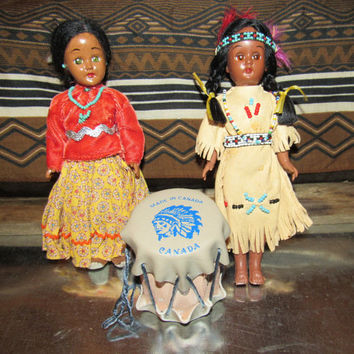 Vintage Native American Dolls / Celluloid Blinking Eye Dolls Collectible Indian Squaw Papoose Skookum / Mid Century Mini Tribal Dolls Drum