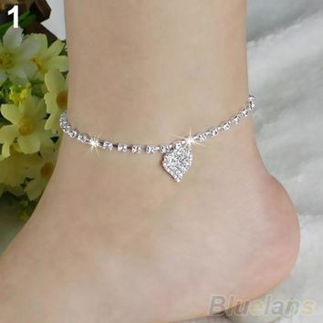 PEAPIX3 Hot Multi-pattern Love Heart Star Wedding Sandal Beach Anklet Chain Foot Jewelry BW2C (Color: Silver) = 1932748356