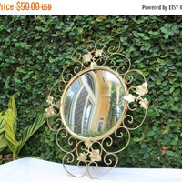 ON SALE Vintage Gold Mirror / Vintage Metal Gold Mirror