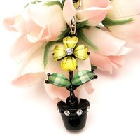 Yellow Moving Flower Cell Phone Charm Cubic Stone
