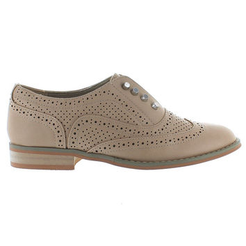 Wanted Hunny - Natural Slip-On Wing Tip Oxford