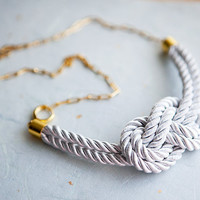 White Nautical Knot Rope Necklace with golden chain by pardes