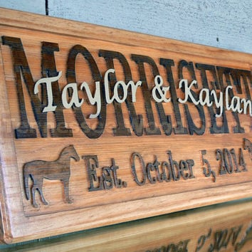 Personalized Wedding Gift Family Name Sign Carved Custom Wooden Signs Established Last Name Anniversary Custom Personalized Sign Horses