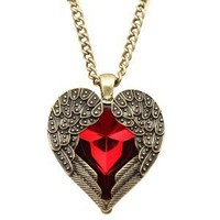 Angel Wings Red Heart Vintage Fashion Necklace