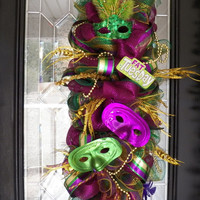 Deluxe Mardi Gras Door Swag, Mardi Gras Wreath, Deco Mesh Wreath, Ready to Ship