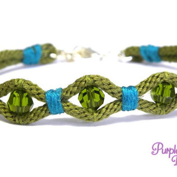 WAVE Kumihimo Bracelet with Crystal Beads, Braided Rope Bracelet with Swarovski Beads - Olive/Teal