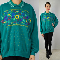 90s Floral Scallop Collar sweatshirt Jumper Preppy Hipster soft Grunge Vintage Womens Clothing Teal Yellow Red Southwestern LARGE 1990s