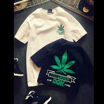 All-match Fashion Casual Male Female Street Skateboarding Bf Winds Hemp Leaves Maple Leaf Print Round Neck Short Sleeve Student Couple T-shirt