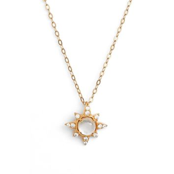 NADRI Holiday Star Drop White Mop Gold Pendant Necklace