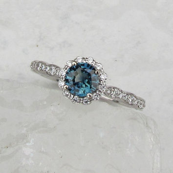 Blue Green Sapphire 14k White Gold Diamond Halo Flower Style Engagement Ring Wedding Anniversary