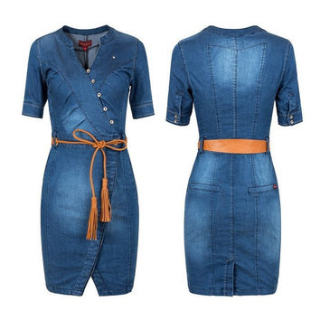 2015 Woman Summer Denim Dress Short Sleeve Sexy V Neck Plus Size Blue Casual Vestido Jeans Female Cowboys Dresses Jeans Dress