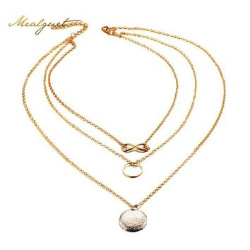 Meaeguet Unique Three Layer Infinity Charm Choker Necklaces For Women Gold-color Female Chains Jewelry
