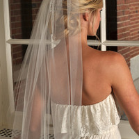 Wedding Veil - Elbow Length with Raw Cut Edge - Ivory, White, Diamond White, Champagne