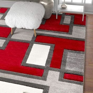 6099 Gray Red Hand Carved Contemporary Area Rugs