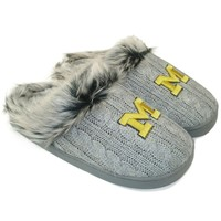 Michigan Wolverines Ladies Knit Slippers - Gray