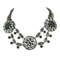 Classic Jewelry Brass Statement Necklace Crystal Bib Jewellery