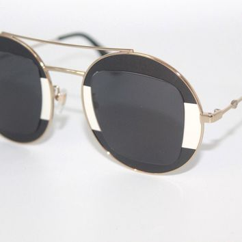 GUCCI Womens Sunglasses GG0105S 006 Black/Gold/Ivory Frame W/ Grey Gradient Lens